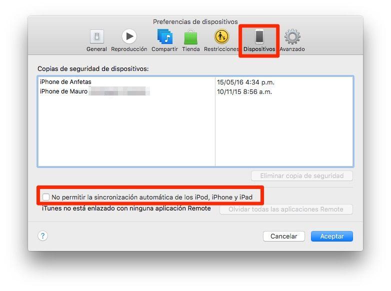 Cómo desactivar la sincronización automática del iPhone y el iPod en iTunes