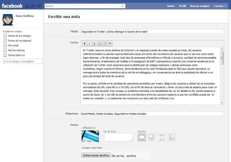 Cómo utilizar las notas de Facebook