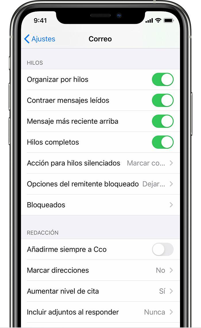 Activar los hilos en el correo del iPhone