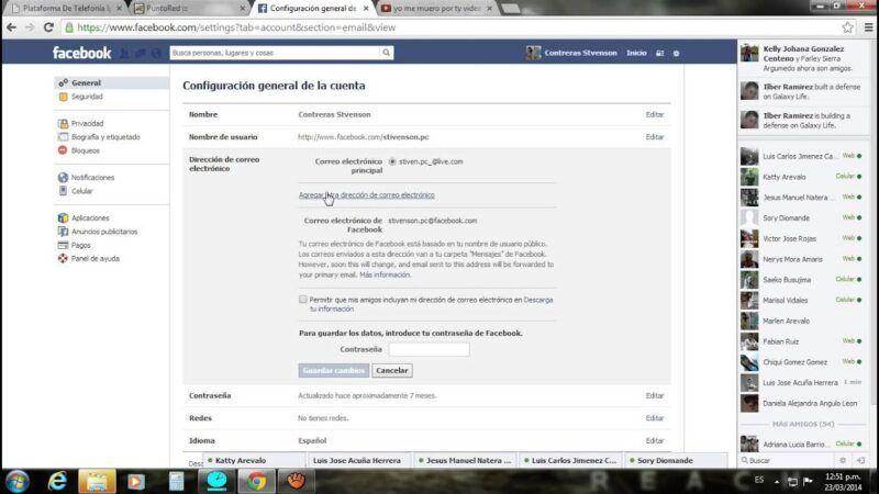 Cómo cambiar tu dirección de correo electrónico en Facebook