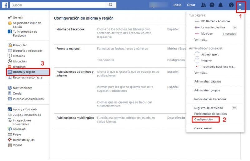 Cómo cambiar la configuración de idioma de Facebook