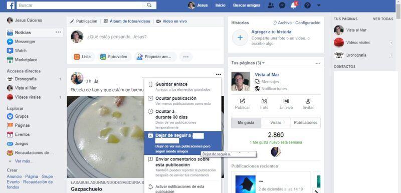 Ocultar amigos en Facebook para no ver las publicaciones que no te gustan