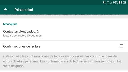 Desactivar los recibos de lectura de WhatsApp