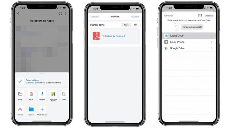 Descargas almacenadas en iPhone