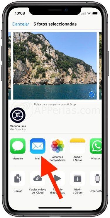 Enviar  imagen con iPhone Mail