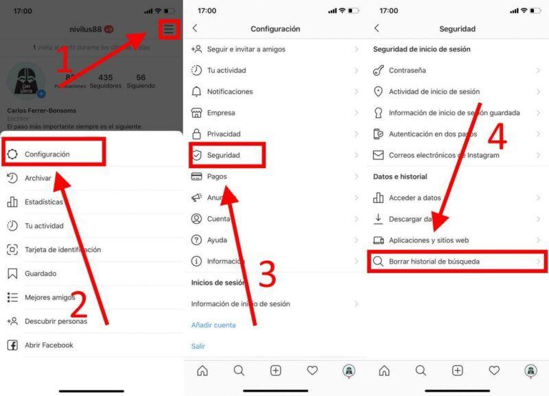 Cómo borrar el historial de búsqueda en Instagram