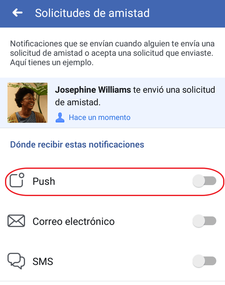 Notificaciones push en Facebook