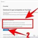 Configuración de la privacidad de YouTube