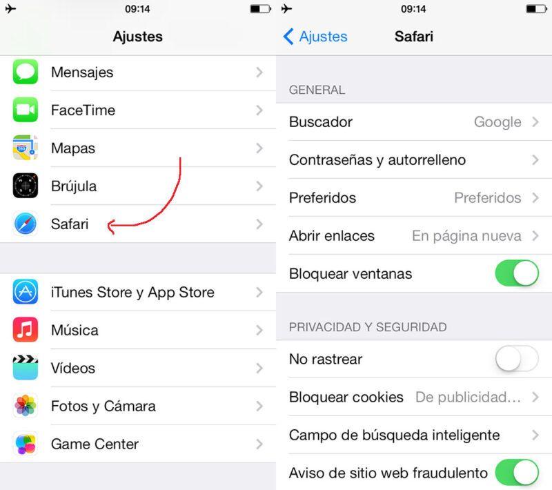 Ajustes y la seguridad de Safari en el iPhone