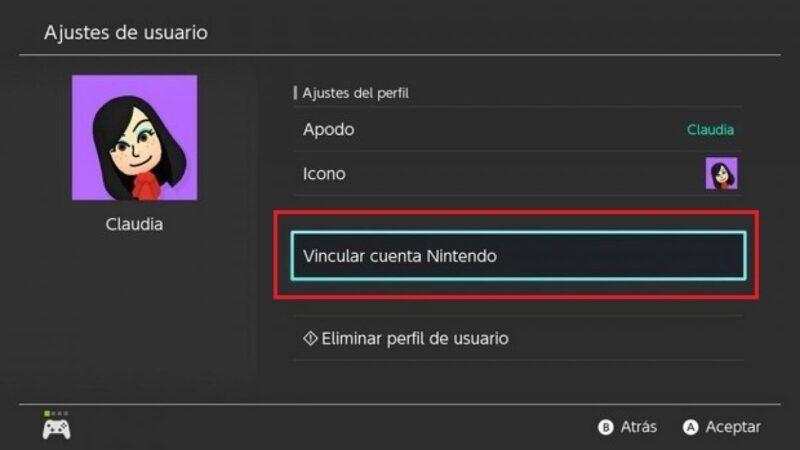 Añadir un usuario a Nintendo Switch