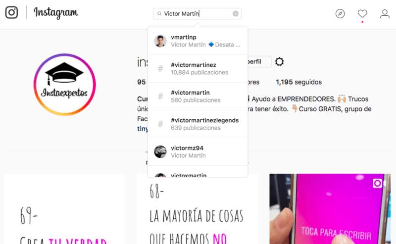Cómo buscar etiquetas y usuarios en Instagram
