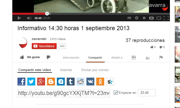 Compartir un vídeo de YouTube