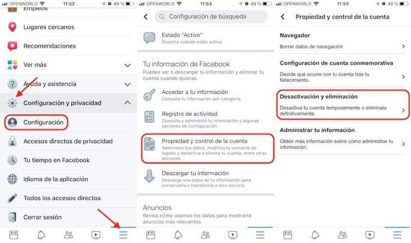 Cómo desactivar Facebook en el iPhone