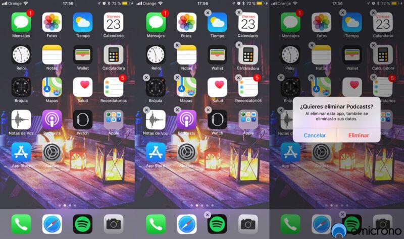 Eliminar las aplicaciones que vienen con el iPhone