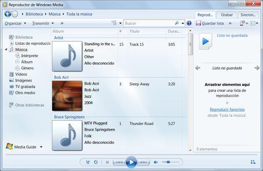 Reproductor de Windows Media 12