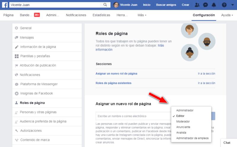 Explicación de las funciones de administración de las páginas de Facebook
