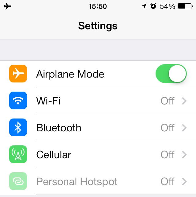 Usar el modo avión en el iPhone