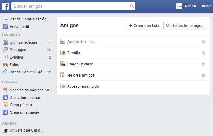 Utilizar la lista restringida de Facebook