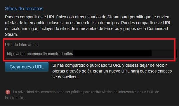 Utilizar tu URL de intercambio de Steam